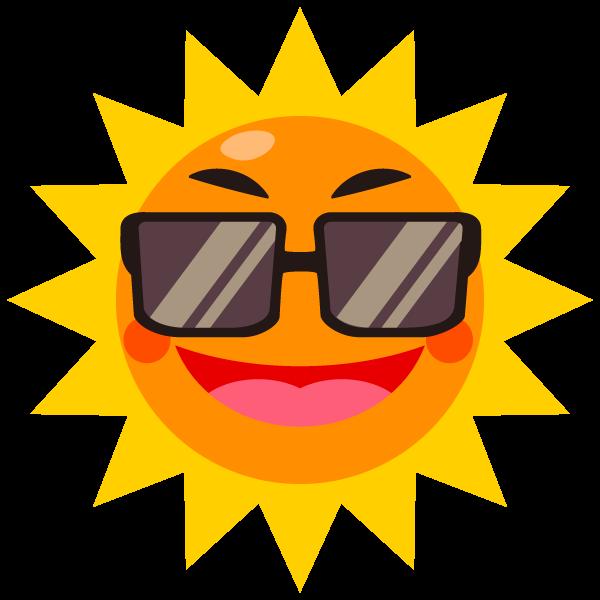 サングラスをかけた太陽のイラスト